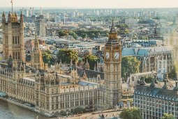 Arial view of the House of Parliament in London, UK