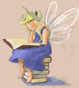 a fairy sitting on a stack of books,reading