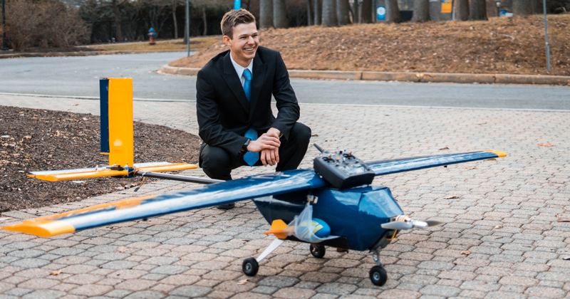 Student with plane