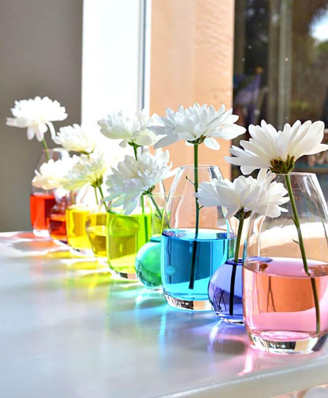 Βάζουμε χρώμα στο νερό του βάζου