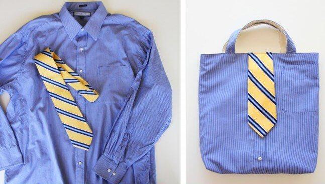 Ενα παλιό πουκάμισο και μια γραβάτα θα γίνουν μια άνετη τσάντα