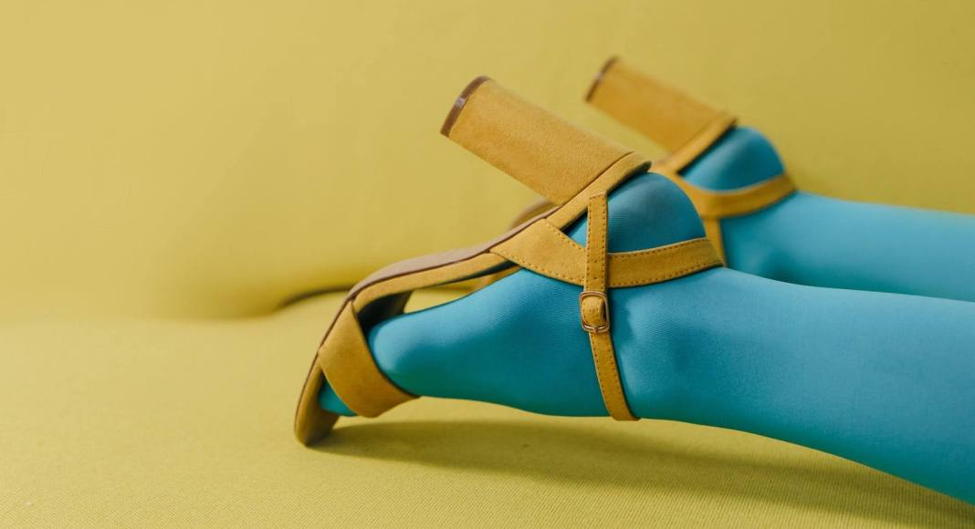 blue and brown leather peep toe heeled sandals