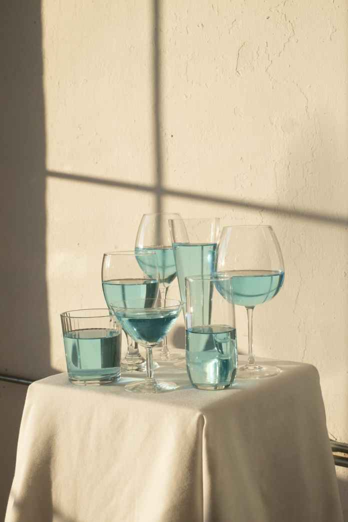 table with transparent glasses with drinks
