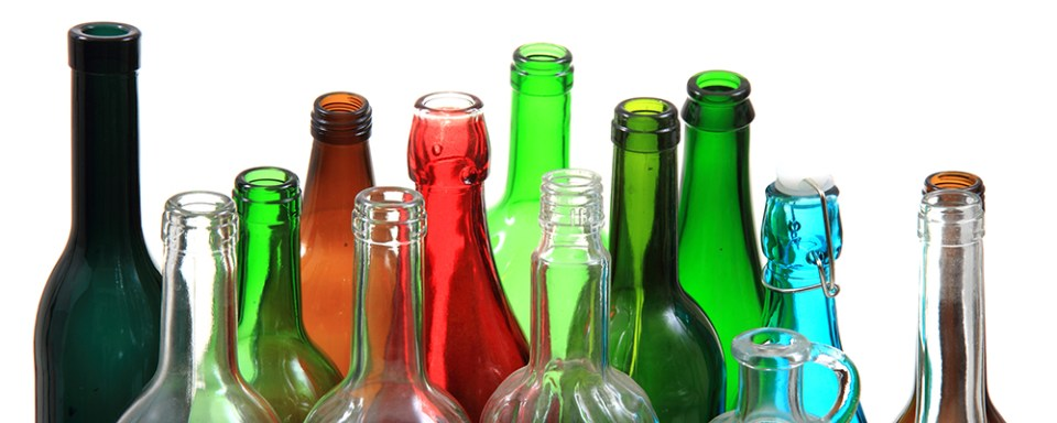 Empty Color Glass Bottles