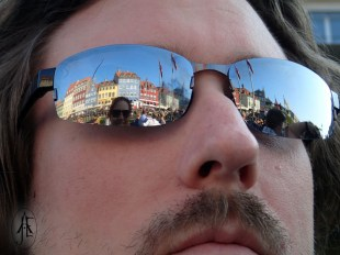 Sunny in Copenhagen, you may see me and parts of Copenhagen in the reflection