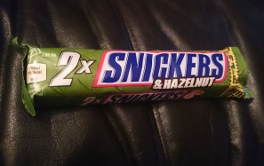 and eating a Snickers Hazlenut bar as a snack