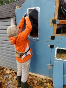 Adding two more windows to the coop.