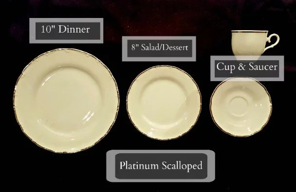 Tableware Rentals - Scalloped Platinum Rimmed Plates