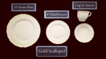Gold Scalloped Dinnerware