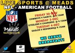 Where to Watch NFL in Bali Meads Beach Bar & Grill