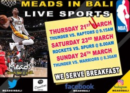 NBA LIVE NOW at Meads in Bali