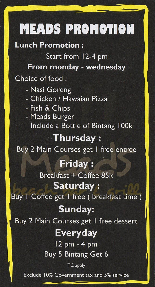 Check out our Daily Specials at Meads