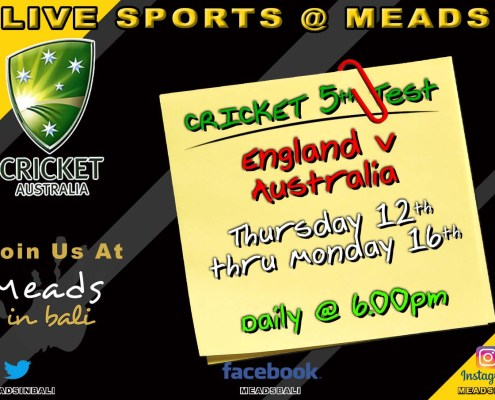 CRICKET : 5th Test LIVE at Meads in Bali