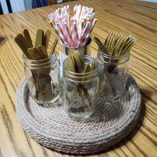 Organize party supplies or utensils with a lazy susan
