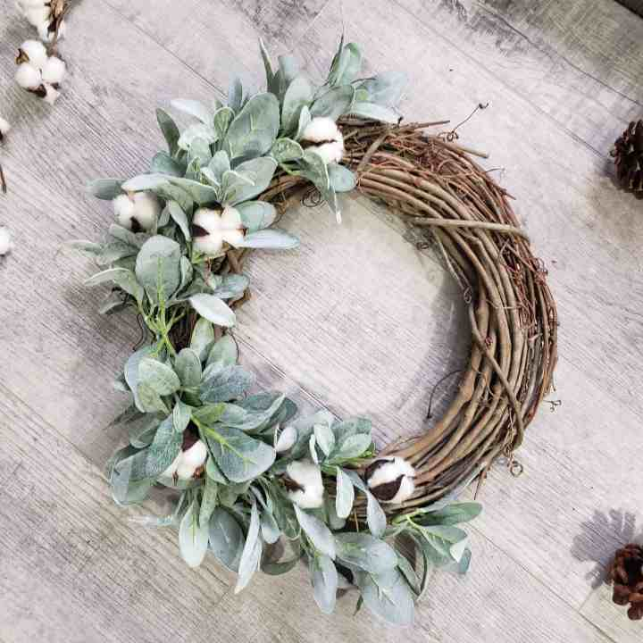Winter wreath: grapevine wreath full of lamb's ear and cotton