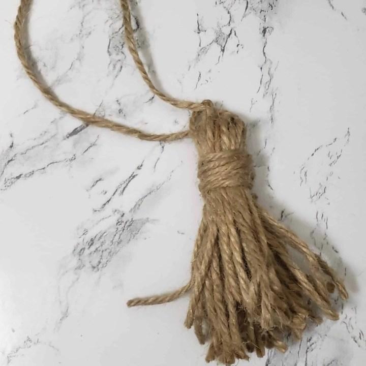 twine tassel for Farmhouse Wooden Bead Garland