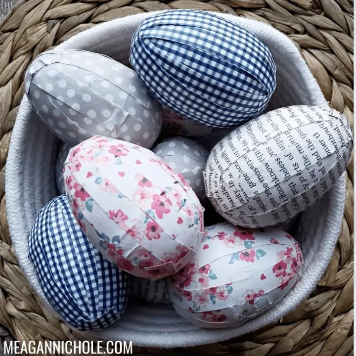 white rope basket full of scrapbook paper Decoupage Easter Egg