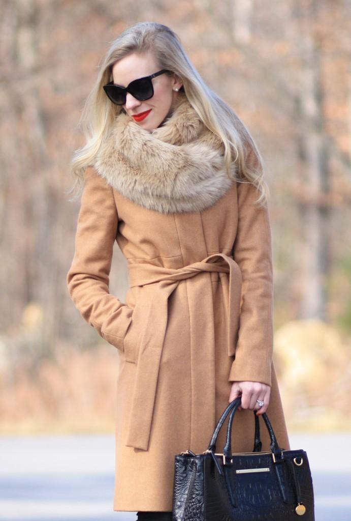 Moda a Roma Camel wrap coat Faux fur snood  Leopard