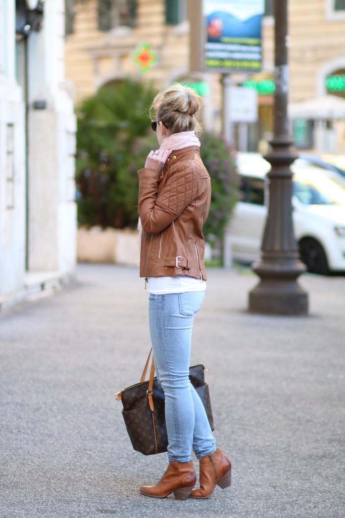 Camel Amp Blush Leather Jacket Pink Scarf Amp Light Denim Meagans Moda
