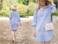 Blue and White Striped Dress Shirt Outfit