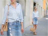 How to Wear White Button Shirt with Denim Skirts