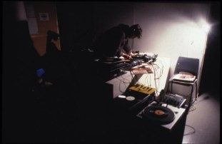 Tony Swain DJing at e.g sometime instant, Transmission Gallery, 2000