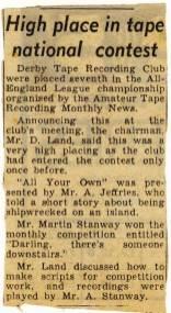 Evening Telegraph news clipping - Feb 1966