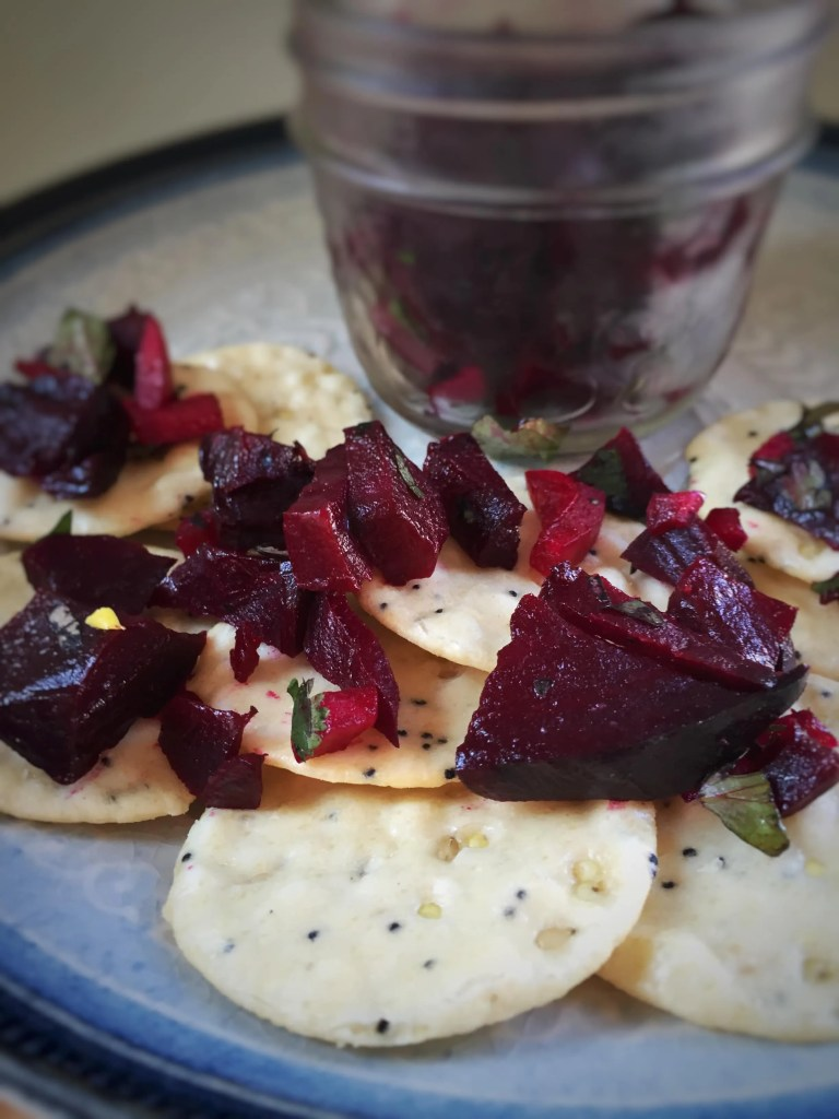 Beet Salsa Crackers