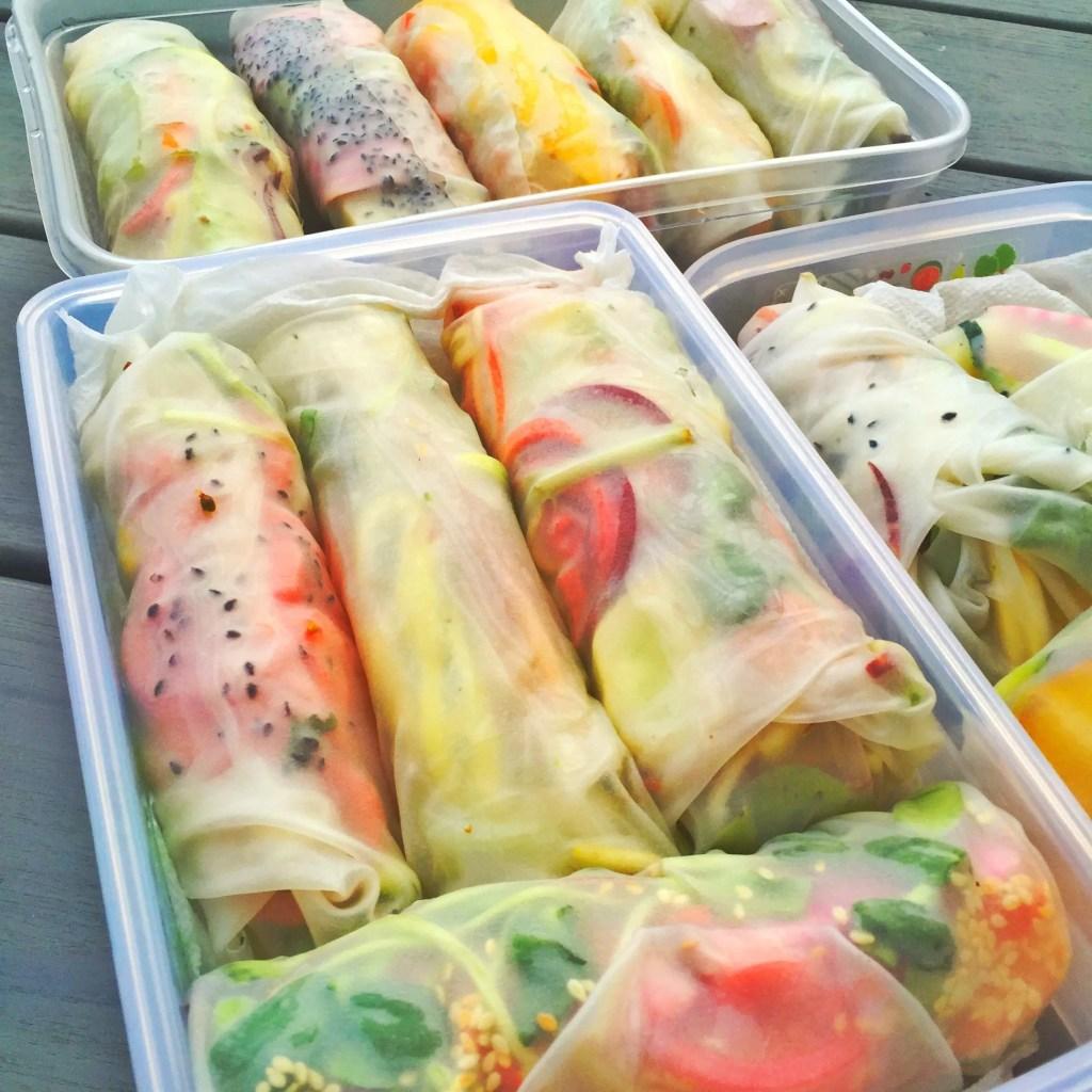 Rainbow Salad Rolls (link below)