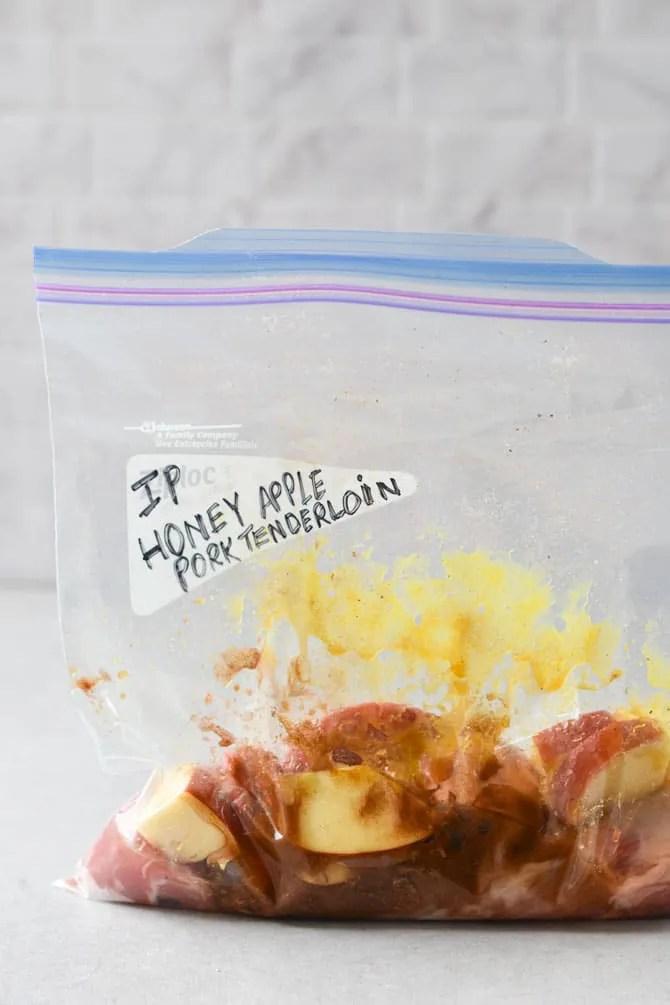 Instant Pot Honey Apple Pork Tenderloin prep raw and freeze