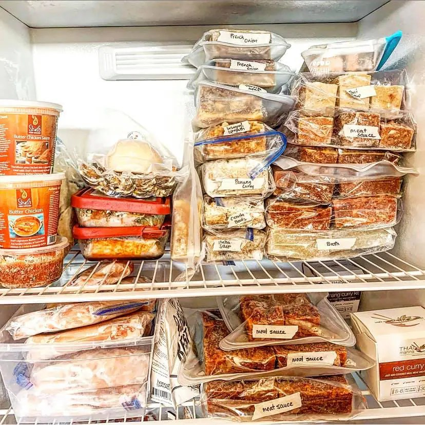 Freezer meals with labels