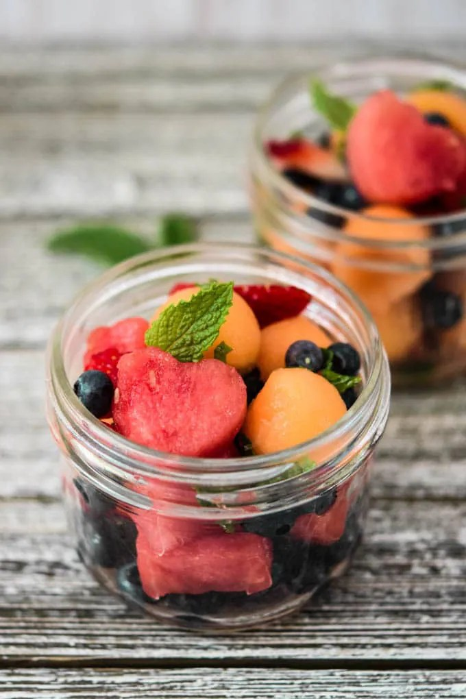 Melon Mojito Fruit Cups - Meal Plan Addict