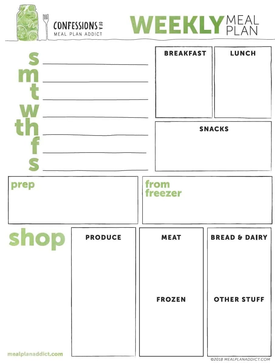 photograph relating to Free Printable Weekly Meal Planner known as Weekly Supper Prep Template - Supper System Addict