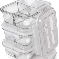 Glass Meal Prep Containers | 3 compartments