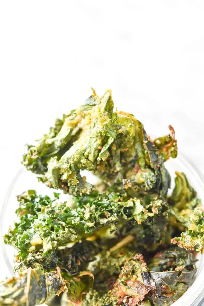 close up of kale chips