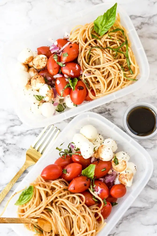 Caprese Cold Noodle Meal Prep -4