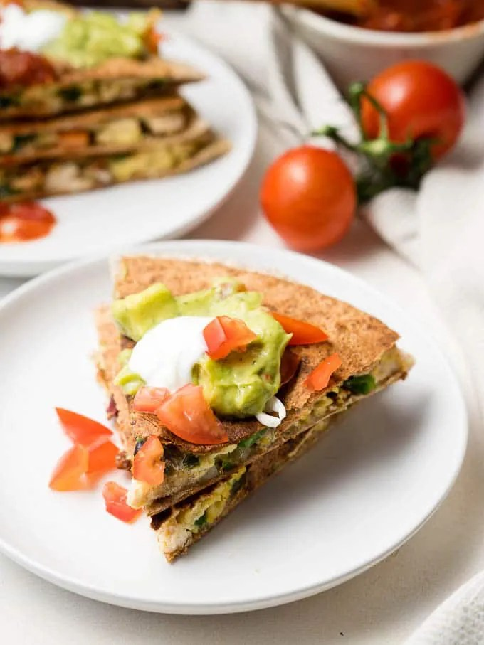 Breakfast Quesadilla (with leftover chicken)