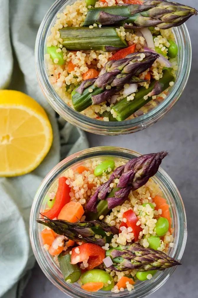 meal prep quinoa asparagus lunch salad