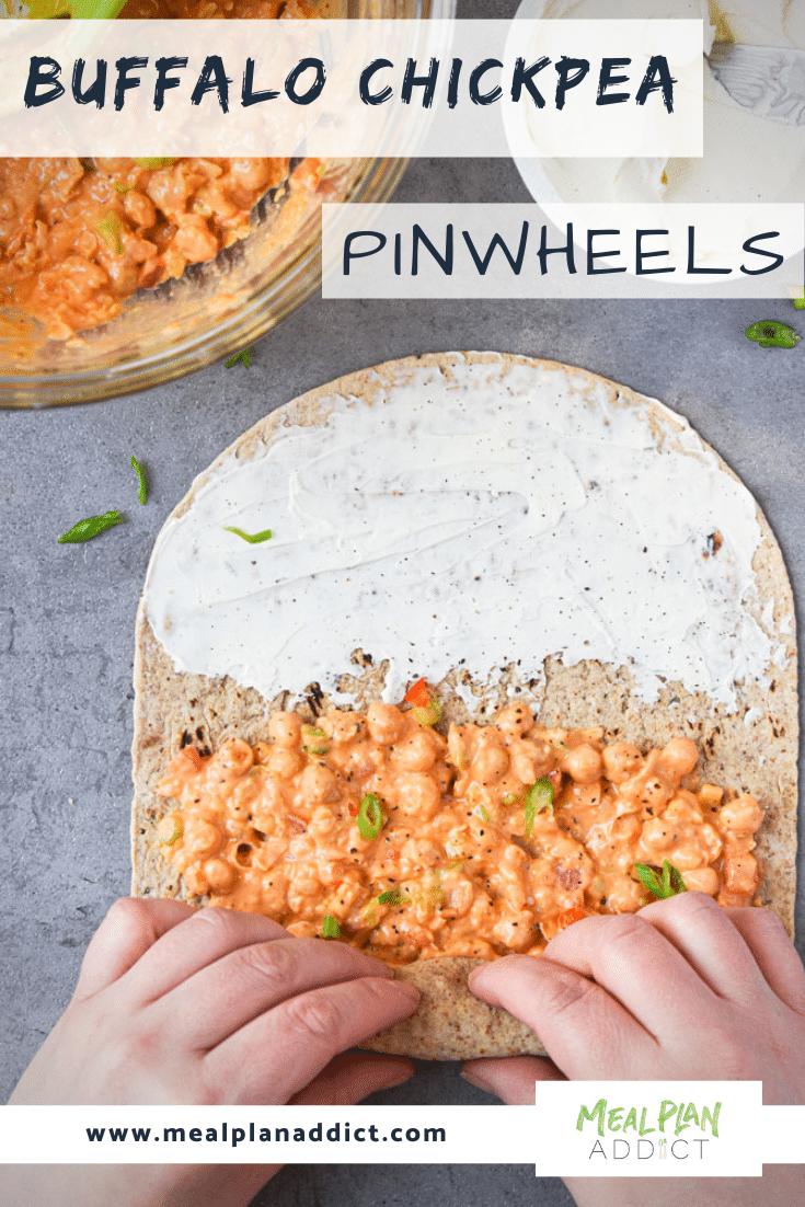 Buffalo Chickpea Pinwheel Meal Prep demonstrating roll up