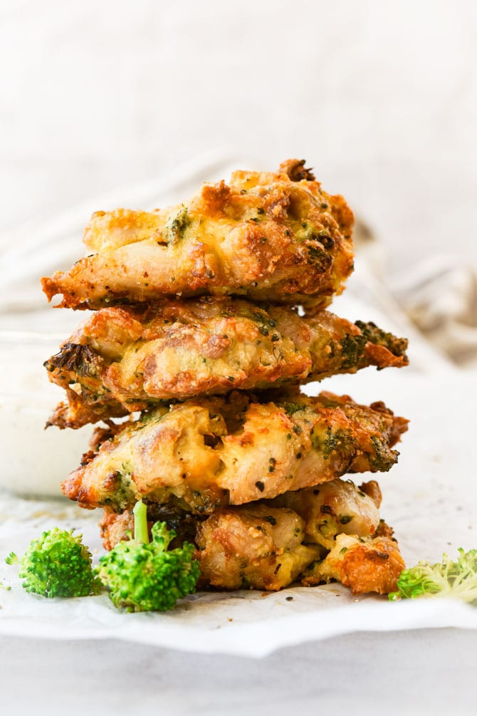 Broccoli Cheddar Chicken Fritters stacked