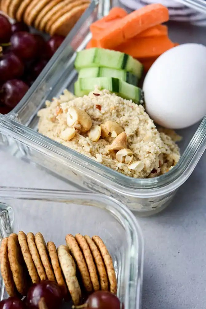 Easy Cashew Cheese Dip bento snack box