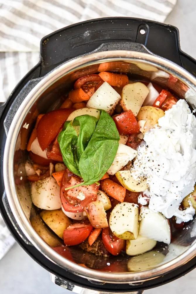 Simple Instant Pot Tomato Basil Soup ingredients