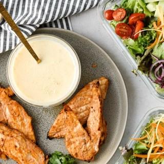 Chicken Shawarma with salads and garlic sauce