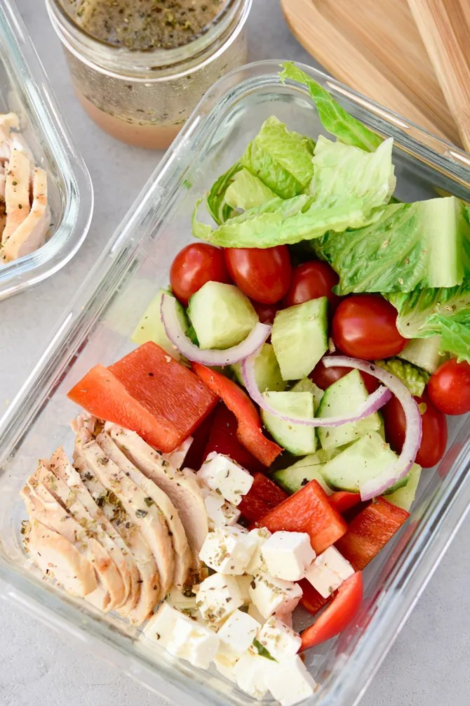 Mediterranean Baked Chicken Salad Meal Prep one container