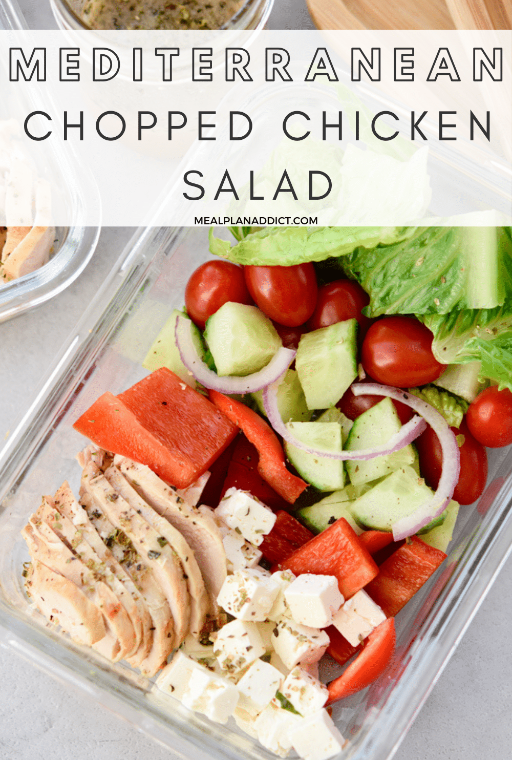 Chopped chicken salad pin for Pinterest