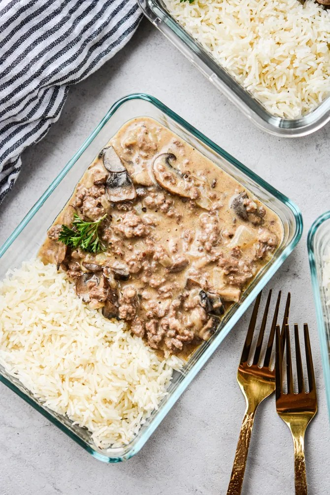 ground beef stroganoff in one container with linen