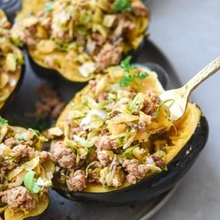 Instant Pot stuffed acorn squash on a fork