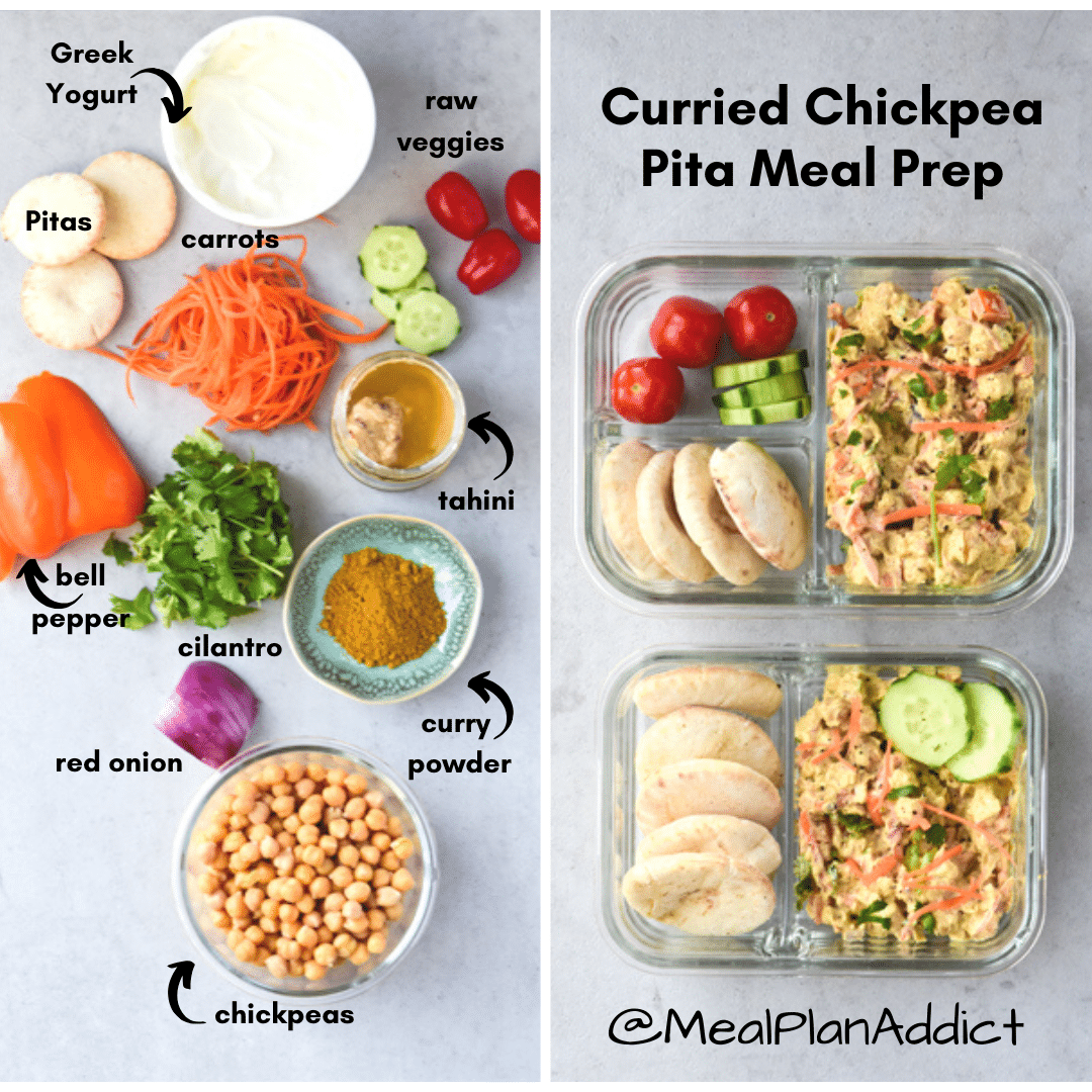 curried chickpea pitas before and after
