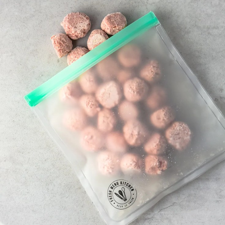 frozen meatballs in freezer bag