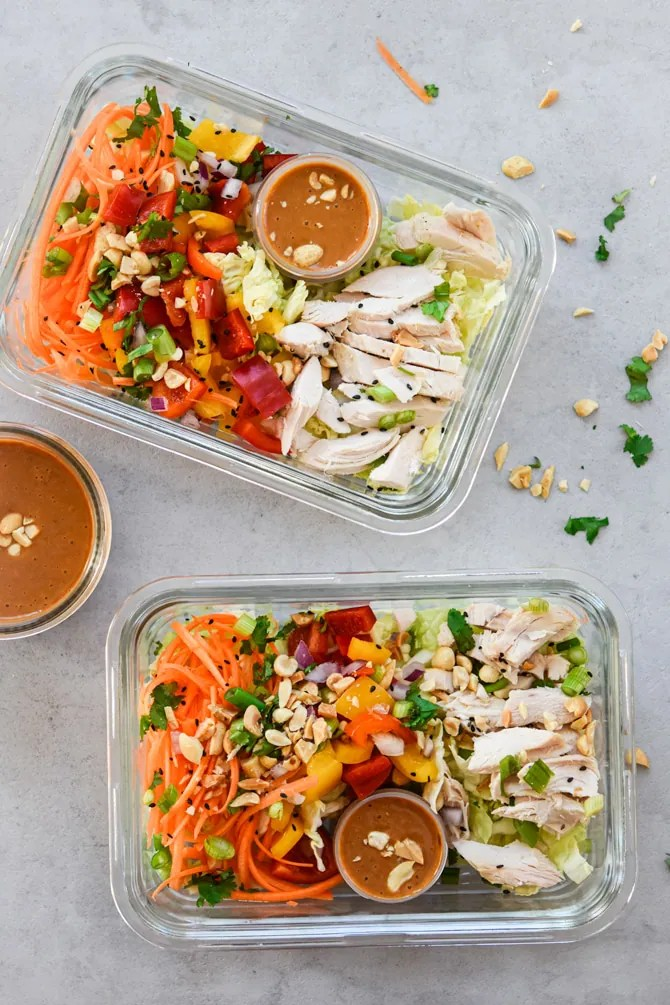 Asian Chicken Chopped Salad in 2 prep containers overhead